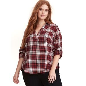 Torrid Plaid Twill Pullover Top, Plus Size 2